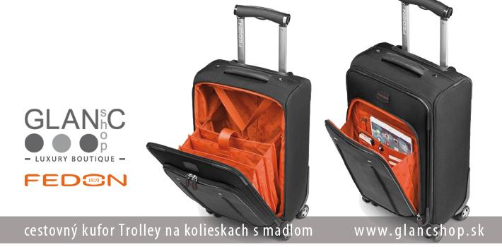 9a424c83d09ea ... cestovný kufor Trolley na kolieskach s madlom značky FEDON,  www.glancshop.sk cestovné ...